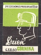 POLAND 1960 Matchbox Label - Cat.Z#202 II, Miners' Day 4.XII.1960.