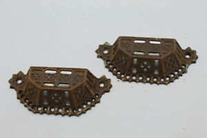 (2) VTG Antique Cast Iron Victorian Eastlake Bin Pulls Architectural Salvage