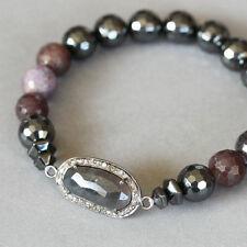 U&C Sundance Sapphire Dark Ruby Gray Hematite Diamond Pave .925 Silver Bracelet