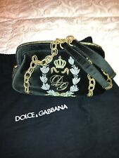 Dolce & Gabbana Brown Velvet with Gold Silver Embroidery Evening Handbag $2,190