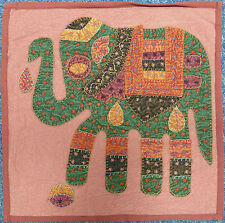 "Indian Patchwork Elephant Cushion Cover 16"" x 16"" - Stonewash Red"