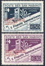San Marino 1943 Imprenta periódico// stampex/sobreimpresión 2v Set O/P (n40948)