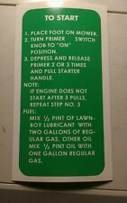 LAWN-BOY Brick top mower decal sticker fuel mix To Start instructions 2for1