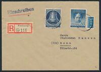 Berlin 1951, Mi. 85+87 auf Brief, portorichtige MiF auf R-Brief! Mi. 130,-€