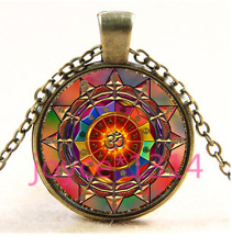 Om Symbol Mandala Cabochon bronze Glass Chain Pendant Necklace TS-4025
