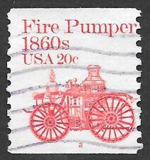 U.S. Scott #1908 20c Fire Pumper Stamp USED PS1 Plate #2 F-VF Cat. $7.00 PMC!!!!
