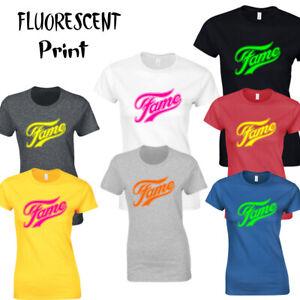 Fame  Fluorescent  Unisex,Ladies Fit T-shirt Top Retro 80's Disco Dance Musical.