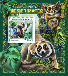 Niger 2016 MNH Primates 1v S/S Mona Monkey Monkeys Wild Animals Stamps