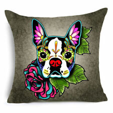 "SUGAR SKULL CUSHION COVER 17"" Day of the Dead DOG White Black * BOSTON TERRIER"