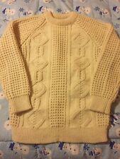 EUC Cornel Sweater Wool Fishermans Hand Loomed in Donegal Irish Aran Small Ivory