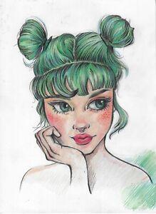 original painting 20 x 28 cm 78RK art Colored Pencil modern female portrait