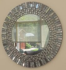 Beautiful New Unique Modern 55cm Round Silver Grey Black Handmade Mosaic Mirror