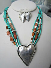 Six Strand Turquoise And Wood Bead Silver Tone Heart Pendant Necklace Earring