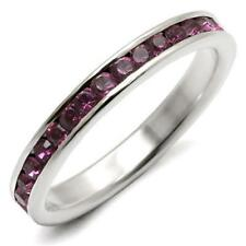WOMEN'S PURPLE AMETHYST 925 STERLING SILVER ETERNITY BAND GUARD RING 8