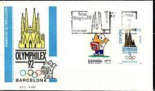ESPAÑA SOBRE 1º DÍA 1992 MADRID 3218/19 III OLIMP. OLYMPHILEX. COBI