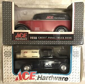 Lot of 2 ACE HARDWARE BANK 1938 CHEVY PANEL TRUCK & 1955 CAMEO PICKUP ERTL 1:25