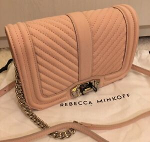 REBECCA MINKOFF ROSEWOOD PINK QUILTED SOFT LEATHER SMALL LOVE CROSSBODY BAG BNWT