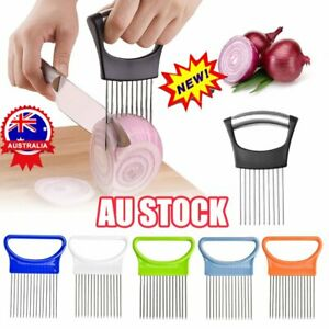 Slicer Cutter Onion Holder Cutting Aid Slicing Cut Tool Salad Tomato Cook AU