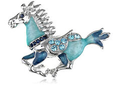 Womens Silver Tone Blue Rhinestones Horse Stallion Brooch Pin
