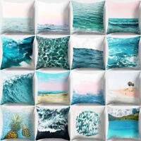 Blue Ocean Sea Polyester Throw Pillow Case Sofa Cushion Cover Home Decor Eyeful