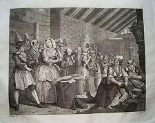William Hogarth Werdegang der Dirne 4 Sex  Prostituierte alter Kupferstich 1800