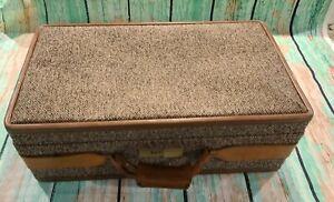"Vintage Hartman Luggage Tweed & Leather Belting With Gold Hardware 21"" x 12 x 7"