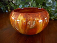 Cherokee 1979 Small Handmade Clay Pottery Signed Arrow Butterscotch Color Drip