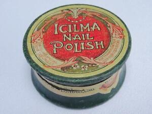 Antique Nail Powder Pot Printed Polish Papier Mache Advertising Edwardian Icilma