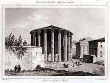 Roma: Tempio di Vesta. Acciaio.Steel engraving.Stampa Antica + Passepartout.1850