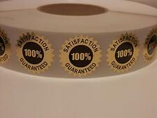 Satisfaction Guaranteed 100% 1.5 Starburst Sticker Label bright gold foil 250/rl