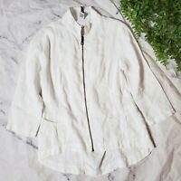 XCVI White Linen Full Zip 3/4 Sleeve Lightweight Lagenlook Layer Jacket M 8 10