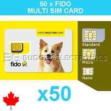 50 pcs Fido Triple Format Nano Micro Standard Multi Sim Card Wholesale Bulk