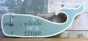 A Whale of A Time Wooden Blue Whale Shaped Clock