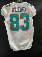 #83 NICK O'LEARY MIAMI DOLPHINS NIKE GAME USED WHITE JERSEY SZ-44 YR-2019