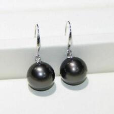11-12mm AAA Black South Sea Pearl Earrings 14k Gold