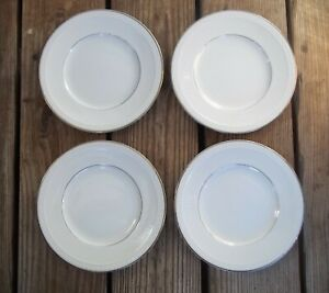 RARE Fukagawa Arita 8118 China 4 Salad Plates Embossed Rim Platinum Ring Trim