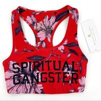 Spiritual Gangster Women's Red Crimson Floral Warrior Racerback Sports Bra XS