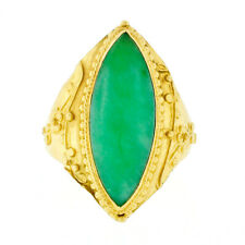Chinese 24K Yellow Gold Bezel Marquise Jade Floral Bead Work Long Solitaire Ring