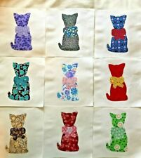"Lot of 9 Cat with Bow Quilt Top 6"" Blocks Cotton Fabric Applique"
