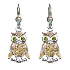 Kirks Folly HOOTY OWL LEVERBACK EARRINGS  silvertone