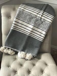Brand New Moroccan Grey & White Blanket & Pillows