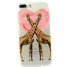 "Pellicola+Custodia GIRAFFE IN LOVE cuore per iPhone 7 Plus 5.5"" TPU flessibile"