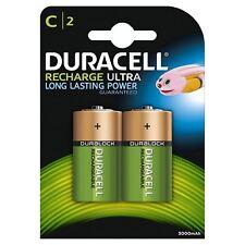 2 x Duracell formato C 3000 mAh batterie ricaricabili NiMH LR14 HR14 DC1400 ACCU