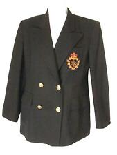 Ralph Lauren 6 Blazer Jacket Navy Blue Royal Crest Wool Womens Vintage USA Layer