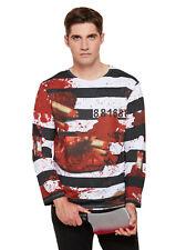 Adults Halloween Themed Fancy Dress Blood Splattered Zombie Prisoner Shirt Top