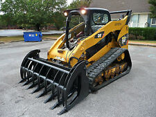 "Caterpillar Skid Steer Attachment 84"" Root Rake Grapple with Teeth - Free Ship"