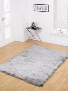 Splendour Shaggy Silky Supersoft Rug Silver in various sizes