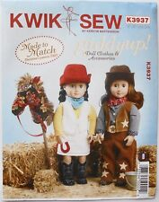 "Kwik Sew 3937 18"" Doll Western Clothes Hat Chaps Shirts & Pony  Sewing Pattern"