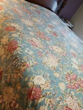 Pottery Barn Teal Blue Floral Cotton Duvet Cover& 1 Euro Sham EUC  Full/Queen