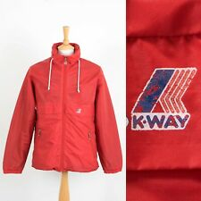 RARE VINTAGE K-WAY WATERPROOF JACKET FLANNEL LINED CAGOULE SAILING SMALL S
